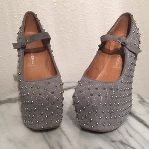 Jeffrey Campbell Silver Spike Wedges